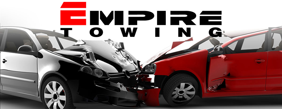 Car accident with Empir Towing logo super imposed