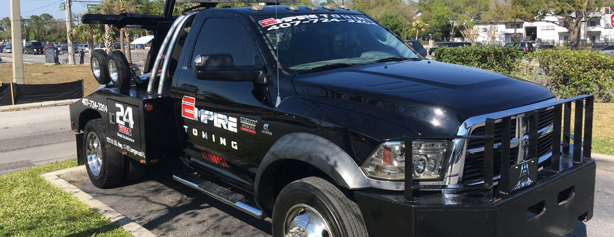Orlando Towing Service Black Tow Truck Three 